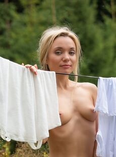 Skinny Temptress Zhenya Belaya Hangs Laundry Outdoors Nude Showing Tiny Tits