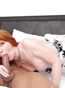 Redhead Freya Fantasia Giving Blowjob In Stockings For Cumshot On Tits