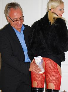 Blonde Milf Zafira May In Red Ripped Fishnets Pounded By Oldman Licking Cum