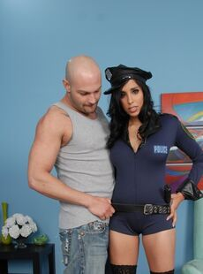Slutty Cop Lacey Cruz Catches Her Guy With Big Fake Tits Gets Cum Sprayed