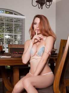 Redhead American Caitlin Mcswain Shows Her Natural Tits And Poses On A Chair