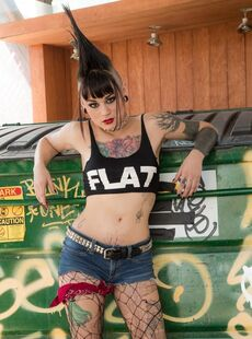 Mohawked Punk Girl Amelia Dire Drops Fishnets To Spread Luscious Ass In Alley