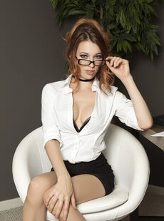Hot Office Babe Caitlin Mcswain Strips To Her Provocative Lingerie At Work