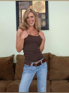 Lean Milf Simone Riley Strips From Jeans And Lingerie To Show Big Tits