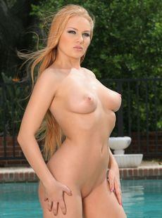 Conceited Redhead Laura Frament Models Her Big Tits Wicked Curves Poolside
