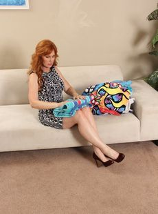 Busty Redhead Mature Froya Fantasia Gets Herself A Young Stud For Sofa Sex