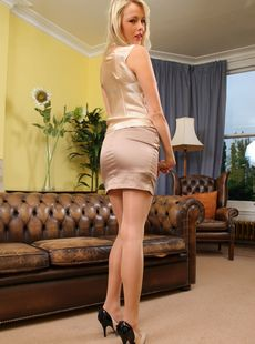 Dirty British Stunner Lacey Jay Doffs Her Silky Uniform And Teases In Nylons 85483988