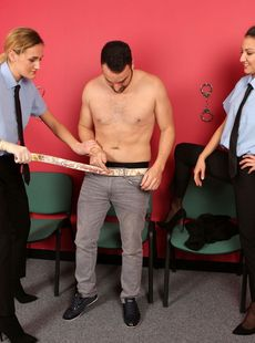 Clothed Policewomen Linda Leclair Suzy Rainbow Strips A Suspect For A 3some