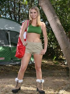 Busty Teen In Shorts Oklahoma Strips And Masturbates In The Tent Camp