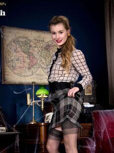 Solo Model Lucy Mae Uncovers Her Boobs While Removing Vintage Clothing
