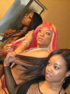 Pink Haired Ebony Vanilla Red Poses In Lingerie With Her Two Black Girlfriends