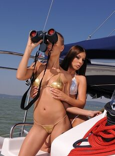 Teens Debbie White Sinead Show Their Butts And Enjoy Licking On The Yacht
