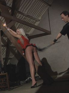 Blonde Sub Zafira May Strung Up For Whipping Table Tied For Blowjob