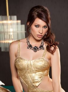 Sultry Teen Glamour Model Caitlin Mcswain Sheds Gold Lingerie To Pose Nude