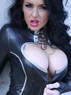 British Stacey Lacey Displays Big Tits Pierced Cunt In Leather Fishnets