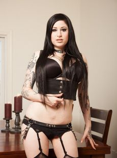 Black Haired Chubby Goth Ophelia Rain Spreads Ass On Table In Ripped Fishnets